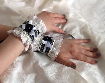 Black-white-gold gothic lolita princess romantic fairy fantasy wrist cuffs / bracelets / wrist wraps