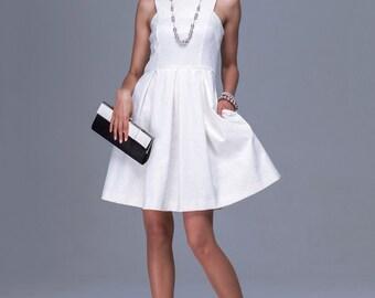 Formal White Mini Dress Sleeveless ,Flared Prom Dress Bridesmaid, Little White Dress Prom Knee Length.