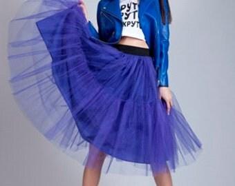 Blue tutu skirt Tulle Elastic waist Bridesmaid skirt Party Holiday skirt.