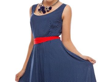 Summer dress, Navy blue dress, Polka dot dress, Casual dress, Sundress floor length, Cotton dress , Sleeveless dress, Casual sundress.