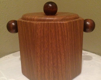 70's Retro faux wood ice bucket barware for man cave  #10/16