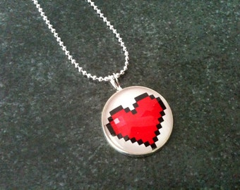 Pixel heart necklace, zelda necklace, sterling silver 925 ballchain, gamer gift idea, love jewelry, geek pendant, red white, video game