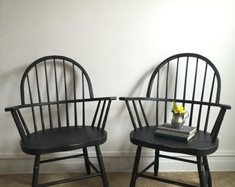 Single Black Hand Painted Antique Chair