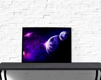 Fantasy poster Bedroom decor Space print