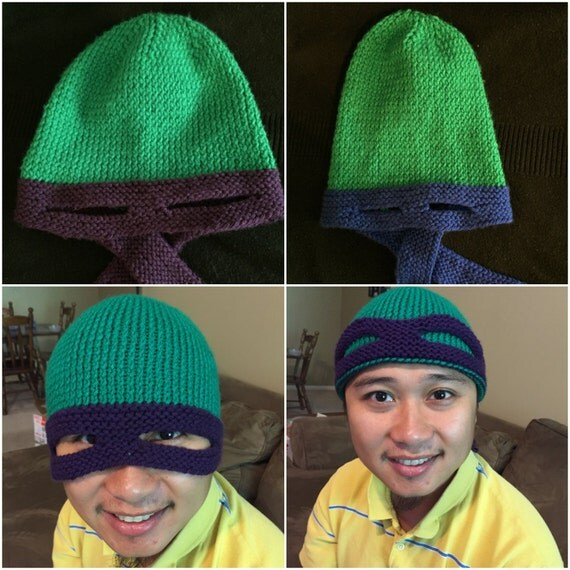 Knitting Pattern Turtle Hat : Knitting Pattern: Teenage Mutant Ninja Turtle Hat Adult Size