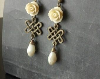 White Rose, Brass, Teardrop Earrings