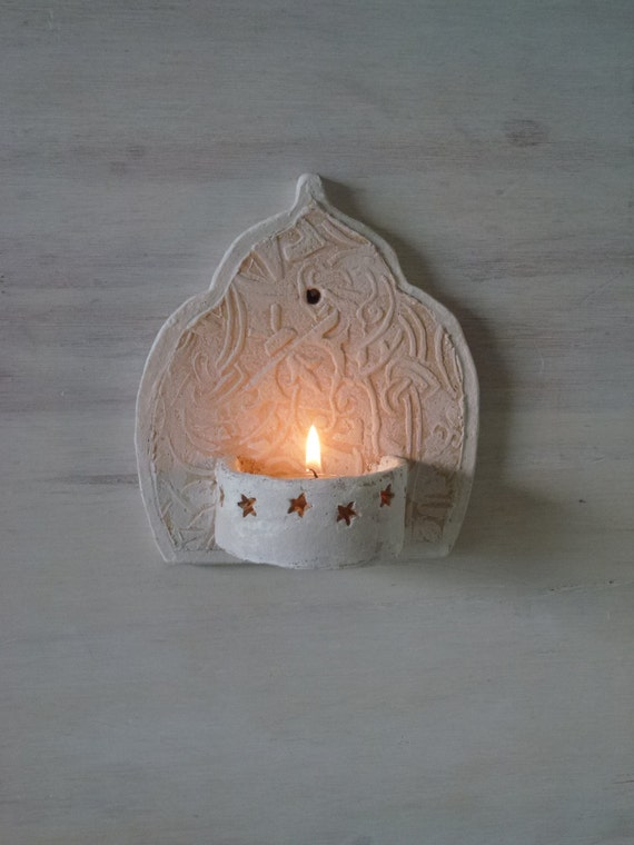 Moroccan Glass Wall Lights : Moroccan style ceramic wall sconce, small tea light holder for bathroom or outdoor courtyard ...