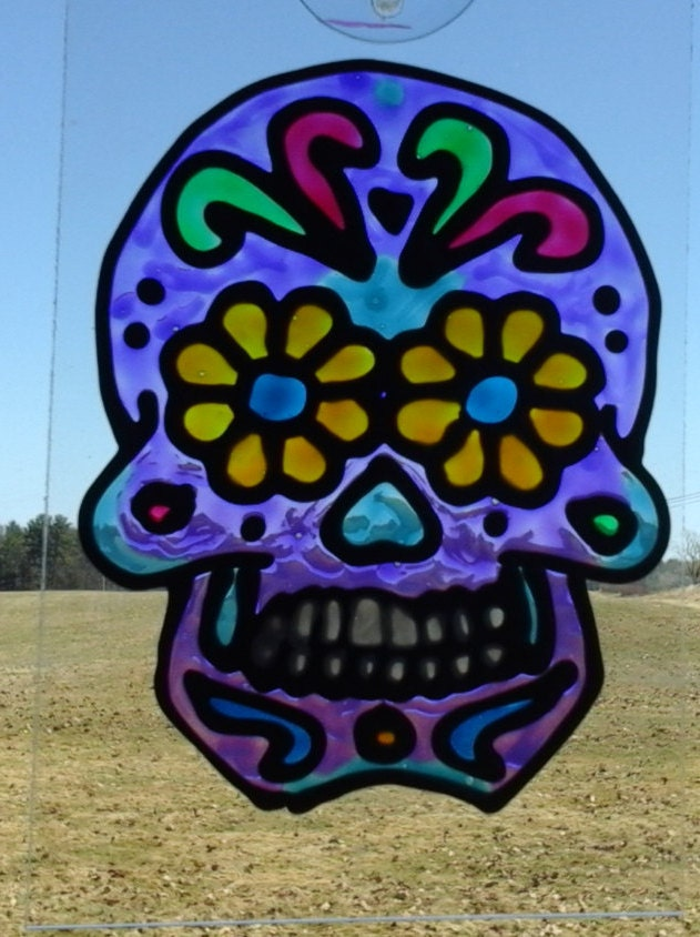 Purple Sugar Skull Sun-Catcher by AriesmoonCrafts on Etsy