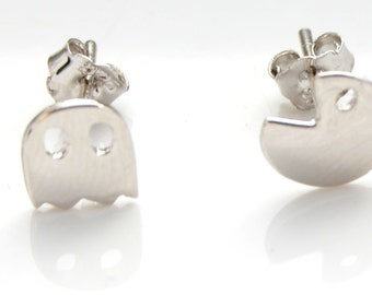 Pacman Earrings in Sterling Silver with Polished Finish e32