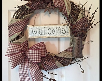 Grapevine Wreath with Burlap and Gingham Ribbon; Primitive Wreath; Country Wreath; Welcome Wreath; Rustic Wreath; Wreath with tin stars