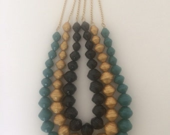 Chunky Paper Bead Necklace with Gold Chain