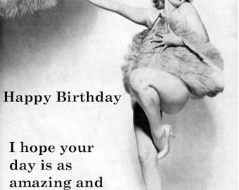 "VINTAGE BIRTHDAY CARD.  Funny, tongue in cheek, Marilyn Monroe ""Marilyn fab birthday"" card [814-007]"