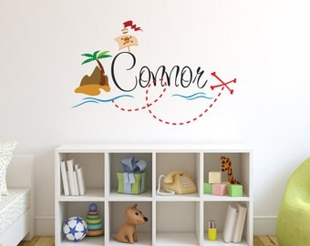 Personalized Pirate Name Wall Decal   Pirate Wall Decal   Boy Custom Name  Decal   Baby