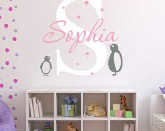 Name Wall Decal - Penguins Wall Decal - Girl Baby Room Decor - Penguins Wall Decor - Nursery Wall Decals Vinyl