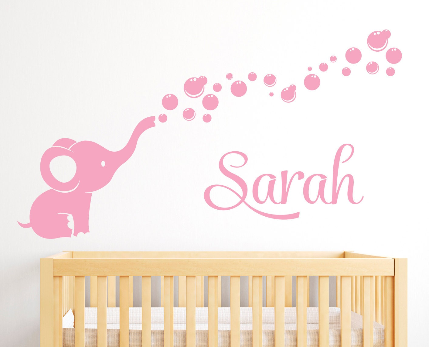 personalized name wall decal elephant elephant bubbles. Black Bedroom Furniture Sets. Home Design Ideas