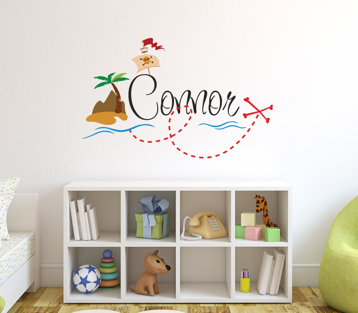 Etsy Personalized Wall Decor : Personalized pirate name wall decal boy