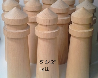 "Unfinished wooden lighthouses / DIY Wedding Table Numbers , Centerpieces / Set of 12, 5-1/2"" tall"