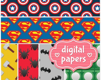 Marvel Super Heros printable digital paper background and pattern INSTANT DOWNLOAD for personal and commercial use - High Resolution 300 DPI
