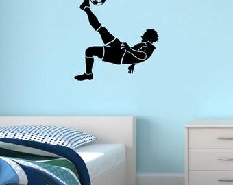 New Football Kick Footballer Black Wall Decal Wall Stickers Large 62cm X 58cm