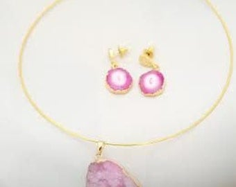 Drusy necklace and earrings