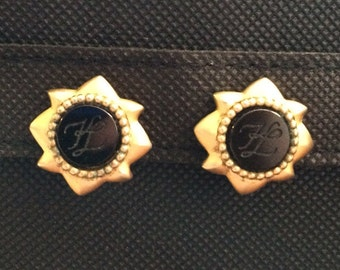 Vintage Karl Lagerfeld clip earrings KL Logo