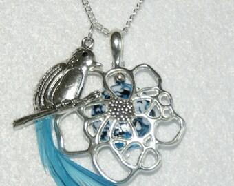 Bird Flower Nested Necklace