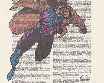 Marvel Comics Gambit on dictionary page print