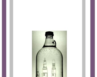 Saturn Rockets Hand-etched Glass Beer Growler