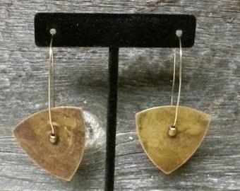 Handmade Earthy Brass Plate and Bead Earrings