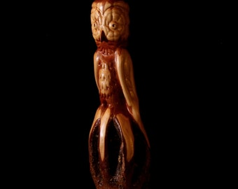 """Wood Carving, Owl, Diamond Willow, Handcarved, """"Little Owl"""""""