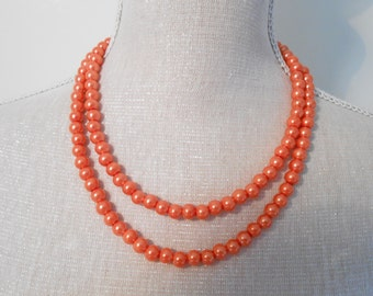 Homemade Two strand orange modern pearl necklace, perfect for jewelry party, birthday, Christmas day, Valentine, Gifts under 10 20 30