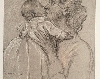1911 Antique Print by H. J. Haverman from The Studio, - Dutch; Portrait; Mother; Baby; Kiss; Chalk; Colour