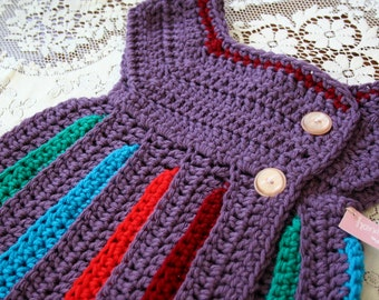 Easter Gift / Easter Dress / Rainbow Baby Dress / Handmade Baby Sweater / Baby Girl Sweater/ Purple Baby Sweater Dress / For Baby Girl