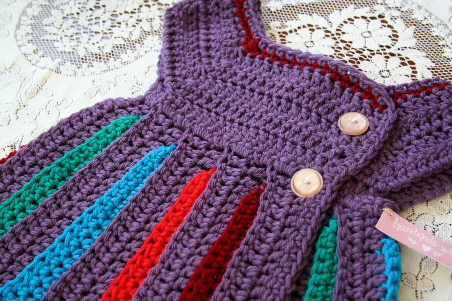 Eloise Rainbow Crochet Baby Sweater / Handmade Baby Sweater /