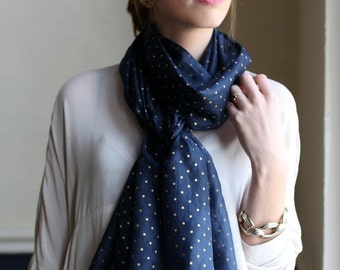 Gold Dots Midnight Blue Silk Scarf. Head Scarf. Neck Scarf. Unique Special Gifts for Moms, Teens, Girlfriends.
