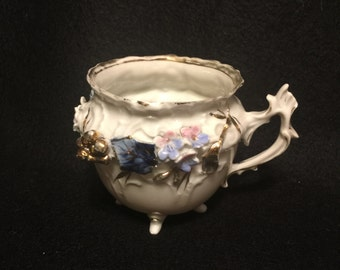 Vintage Footed Teacup - Fine Bone China - 1587 - Intricate Floral Design - Hand Painted - Gold Accents