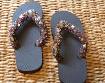 Ladies brown flower sequined, hand embellished flip flops, size 8 to 8 and one half