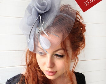 "Gray Fascinator - ""Scarlett"" Mesh Couture English Hat Fascinator Headband"