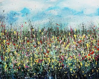 Large original acrylic painting on deep edged canvas, Spring Meadow, 40 x 30 inches floral wall art, contemporary, abstract