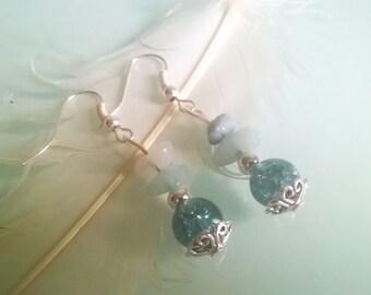 Blue Amazonite silver earrings
