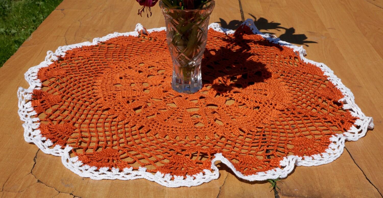 Vintage crocheted orange lace tablecloth crochet decor - Crochet mural vintage ...