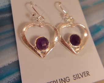 AMETHYST HEART EARRINGS Sterling Silver