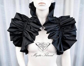 Black shiny taffeta shrug bolero-gothic bolero-victorian bolero-shrug bolero-ruffle bolero-victorian bolero-gothic bolero