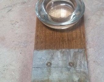 Wine barrel stave candle holder