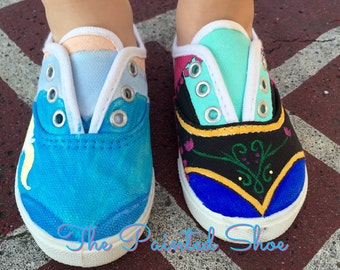 Anna and Elsa Character Shoes - Painted Shoes - Disney Painted Shoes - Frozen Painted Shoes - Kids