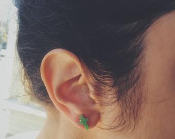 Cross jade stud earrings, jade jewelry, Chinese jade-silver jewelry, jade-silver stud earring
