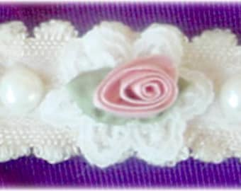 Dress Clasp, Creamy Beige Material with Pink Flower and Pearls
