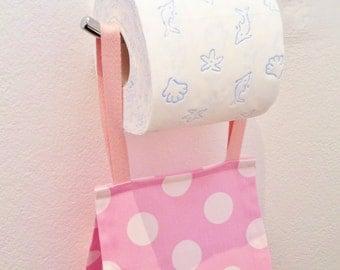 Toilet Roll Holder/ Toilet Paper Holder/ Bathroom Storage - Spots Pink