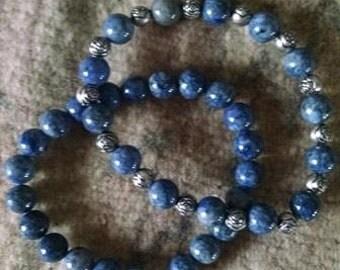 Denim blue beaded stacking bracelets