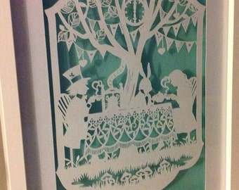 Alice in Wonderland - Mad Tea Party Framed Papercut